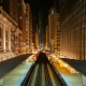 chicago l train, chicago, city, cityscape, urban, metro, building, night, city lights, train station, railway wallpaper