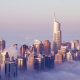 dubai, united arab emirates, skyscrapers, clouds, mist, city wallpaper