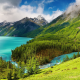 mountain, trees, water, lake, landscape, nature wallpaper