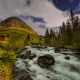 norway, river, hill, hut, tree, forest, nature wallpaper