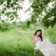 asian, bride, girl, swing, apple, wedding dress, women, brunette wallpaper