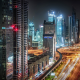 city, dubai, night, skyscrapers, street, lights, uae wallpaper
