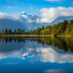 lake matheson, new zealand, nature, mountains, beauty, reflection, lake, clouds, forest wallpaper