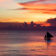 sailboat, sunset, sea, calm, clouds, purple sky, nature wallpaper