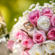 wedding bouquet, flowers, roses, pink, wedding, bouquet, wedding rings wallpaper