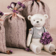 teddy bear, flowers, petals, still life wallpaper