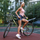 women, jean shorts, shoes, women with bikes, looking away wallpaper