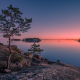 gulf of finland, finland, island, sunset, tree, rocks wallpaper