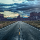 monument valley, united states, arizona, utah, road, clouds, sky, twilight, nature wallpaper