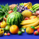 fruits, watermelon, banana, orange, melon, grapes, strawberry, pineapple, food wallpaper