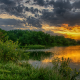 nature, summer, lake, pond, tree, sunset, clouds wallpaper
