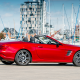 mercedes-benz sl 500, roadster, cabrio, red mercedes, cars, mercedes-benz, mercedes, yacht, pier wallpaper