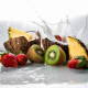 fruits, tropical, splash, food, strawberry, kiwi, pineapple wallpaper