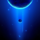space, stars, 3D renders, planet, moon, blue wallpaper