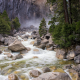 lower yosemite falls, nature, mountain river, forest, rocks, stones, river, yosemite, usa wallpaper