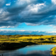 turner valley, alberta, canada, landscape, field, meadow, clouds, nature wallpaper