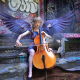 girl, cello, wings, women, music wallpaper