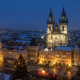 church of our lady before tyn, prague, christmas, twilight, city, night, czech republic wallpaper