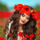 poppy, flowers, poppies, brunette, hairs, girl, women, wreath wallpaper