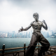 bruce lee, statue, hong kong, avenue of stars, fist of fury, fog, city wallpaper