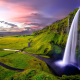 waterfall, green meadows, mountains, nature, iceland wallpaper
