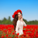 poppies, mood, positive, flowers, women, smiling, poppy, brunette, wreath wallpaper