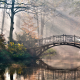 park, tree, bush, sun rays, river, bridge, forest, nature wallpaper