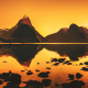 photography, digital art, mountain, lake, sunset wallpaper