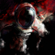 artwork, digital art, astronaut, blood, dark wallpaper