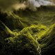 nature, landscape, mountain, mist, clouds, valley, river, forest, green, Hawaii, island wallpaper