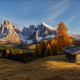 forest, hill, autumn, hut, mountains, forest, nature wallpaper