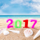 2017, new year, candles, seashells, sand, beach, sea, shells wallpaper