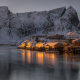 reine, village, lofoten, norway, rocks, twilight, sea, bay, winter, mountains, snow wallpaper
