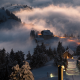 landscape, nature, Switzerland, sunset, snow, village, train, mist, trees, winter, lights, hill wallpaper