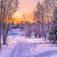kiruna, sweden, winter, nature, beautiful, path, sunset, snow, house wallpaper