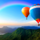 sky, rainbow, balloons, mountains, hot air balloon wallpaper