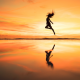 women, sunset, photo, beach, sea, girl, jumping, reflection wallpaper