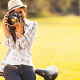 girl, camera, photo, smiling, bicycle, hat, jeans, women wallpaper