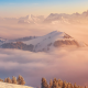rigi, switzerland, landscape, mist, mountains, snow, clouds wallpaper