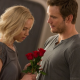passengers, movies, jennifer lawrence, aurora, chris pratt, jim, women, blonde, girl, boy, man, flowers, roses, romantic wallpaper