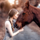 girl, horse, kiss, pigtail, women wallpaper