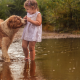 baby, girl, dress, nature, rain, puddle, animals, dog, dirty wallpaper