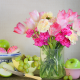 vase, flowers, tulips, fruits, apple, berry, grapes, knife, cake, food wallpaper