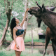 aurela skandaj, girl, smile, joy, model, brunette, women, elk, animals wallpaper