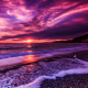sea, beach, surf, lilac, sunset, nature wallpaper