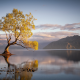landscape, nature, sunrise, lake, trees, mountain, water, clouds, reflection wallpaper