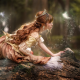 forest, girl, fairy tale, crown, redhead, log, curls, women wallpaper