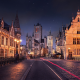 Ghent, Belgium, city, old building, architecture, night, starry night wallpaper