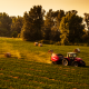 vehicle, tractors, dust, sunset, field wallpaper