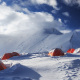 razdelnaya peak, snow, mountains, sky, tent, top, pamir mountains, pamirs, kyrgyzstan, tajikistan wallpaper